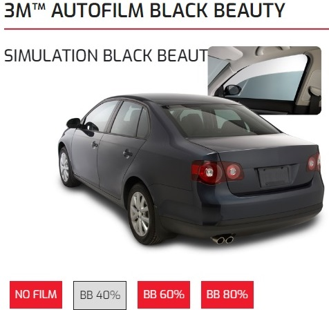 kaca film 3m black beauty 40%