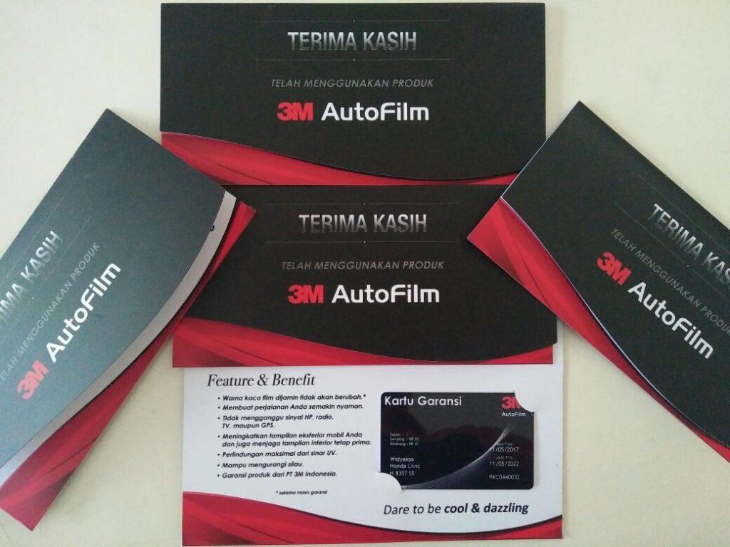 contoh kartu garansi kaca film 3m asli