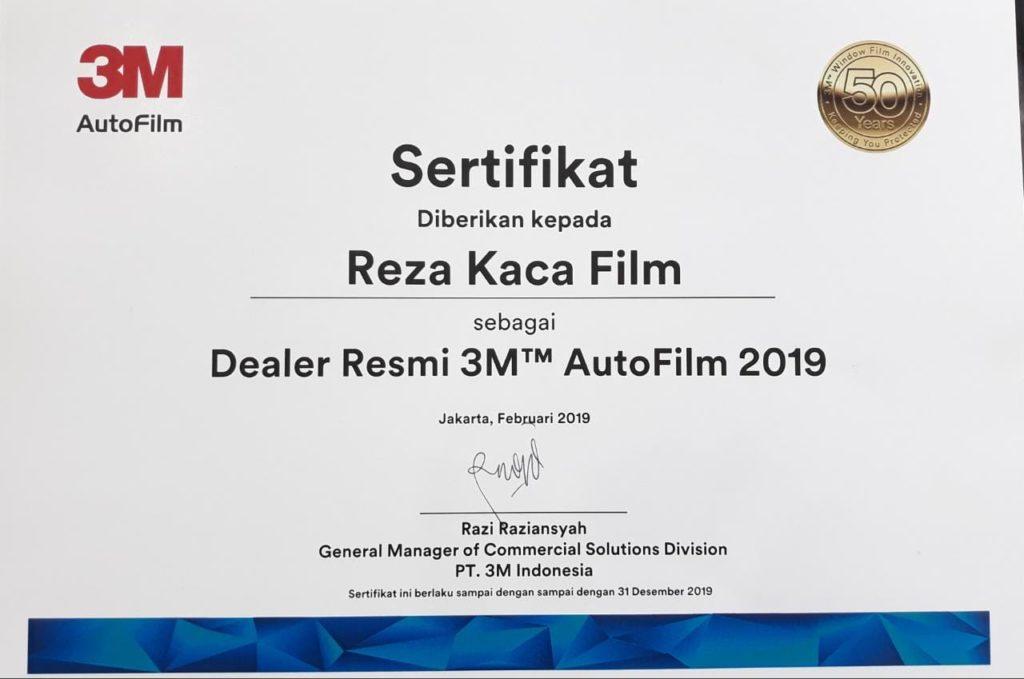sertifikast penjual kaca film 3m asli